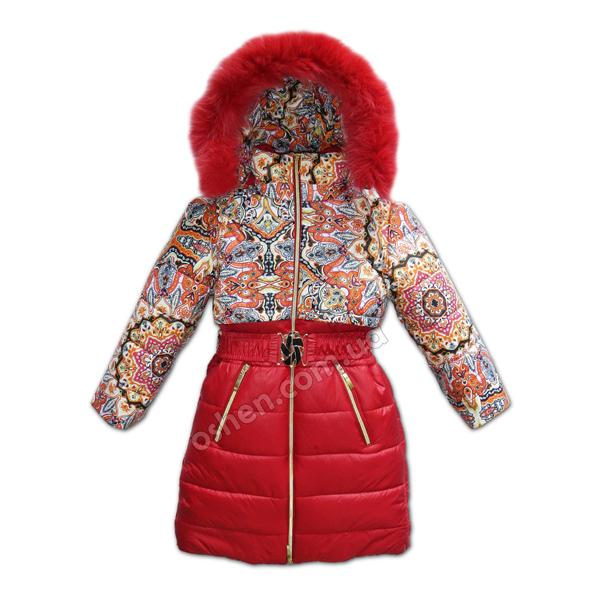 Удлиненное красное зимнее пальто для девочек «Влада»