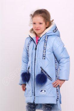 Детская зимняя куртка для девочек Эмили васильковый