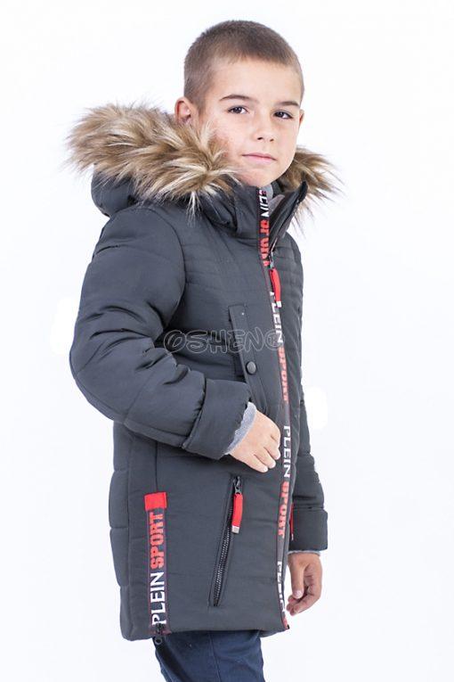 detskie zimnie kurtki dlya mal`chikov sport grafit bok